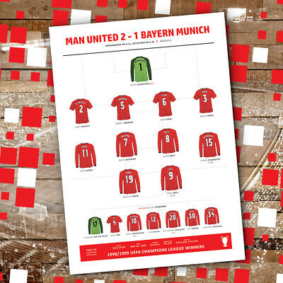 Manchester United 1999 Line-Up Presentation Print Champions League Final Winners