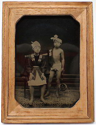 19th C Japan Antique Original Ambrotype Photograph Japanese Man and Boy in Happi