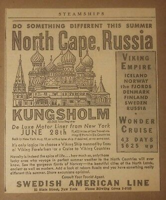 1932 Swedish American Line Steamship Cruise Ad North Cape, Russia Kungsholm