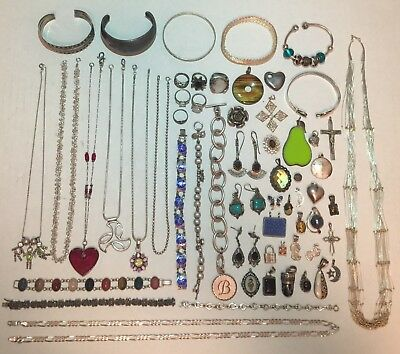Huge Lot Of Antique & Vintage Jewelry Collection - Sterling Silver 642.6 Grams