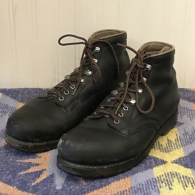 Vibram Sole Swiss Euro Vintage 1960s Mens 9.5 Hiking Outdoors Leather Boots
