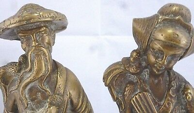 ANTIQUE Vintage solid BRASS MALE  FEMALE JAPANESE FIGURES pair of statues models