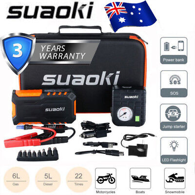 Suaoki Portable Car Jump Starter Power Bank Battery Charger Booster Rescue Pack