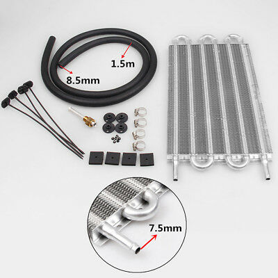 1x Aluminum 6 Row Transmission Oil Cooler Car Radiator Kit w/ Hose and Fittings
