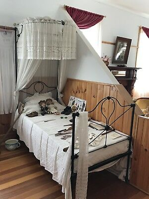 Antique Half Tester Single Canopy Cast Iron Bed