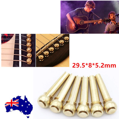 6pcs Guitar Bridge Pins End Pin Acoustic Gold Brass Metal Replacement Parts OZ