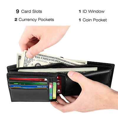 Men's Genuine Leather RFID Blocking Wallet Trifold ID Card Holder Multi Pocket