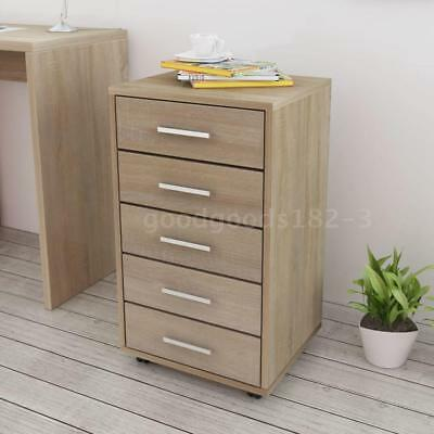 Study Office School Filing Cabinet Rolling Storage with 5 Drawers Oak G2D7
