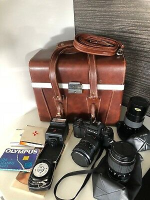 Pentax A3 35mm Camera SLR Kit - Leather Case + 3 Lenses + Flash - Free Post