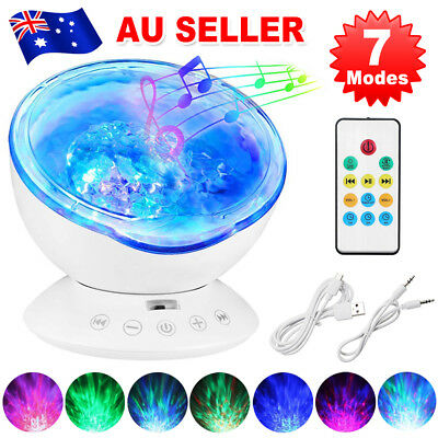 Relaxing Projector Music Ocean Wave LED Night Light Mp3 Remote Lamp Kids Sleep