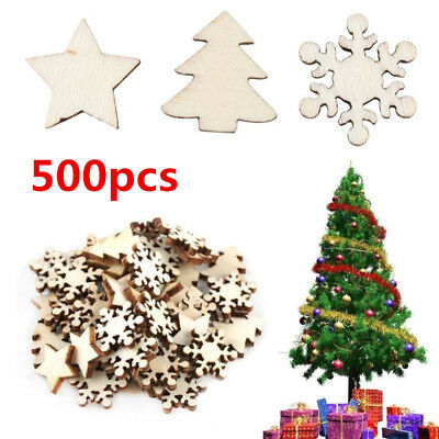 500pcs/pack Natural Wooden DIY Christmas Tree Hanging Ornaments Pendant Gifts