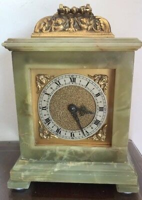 Antique Onyx & Brass Movement Mantle Clock @ 1900 Gillett & Johnson Elliott
