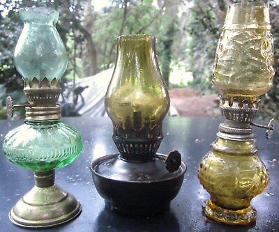 3 collectors 1960's miniature paraffin / oil lamps - made in hong kong