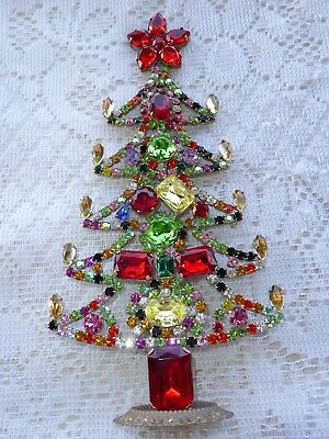 Amazing Vintage Colored Czech Rhinestone Christmas Tree Standing