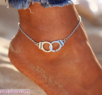 925 Sterling Silver Tribute FREEDOM Jail Handcuffs Anklet Chain Jewellery
