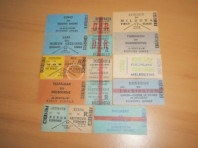 Victorian Railway Tickets Various Country Issues Singles & Returns x 12 Mint.