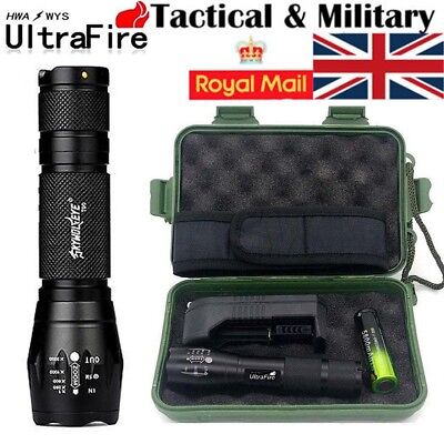 50000LM Tactical Light Power T6 LED Flashlight Zoomable Torch+18650+Charger