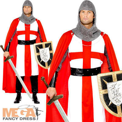 St George Hero Mens Fancy Dress Medieval Crusader Book Day Knight Adults Costume