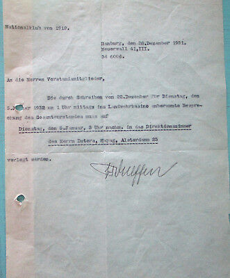 Vintage letter of National club of 1919 handsigned by Brigadefuhrer Wulffen