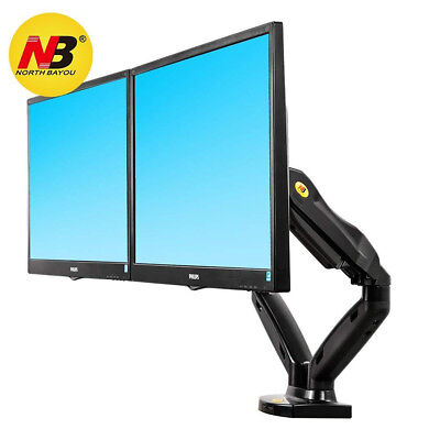 Dual Monitor Desk Mount Stand Full Motion Swivel Computer Monitor Arm Gas Spring