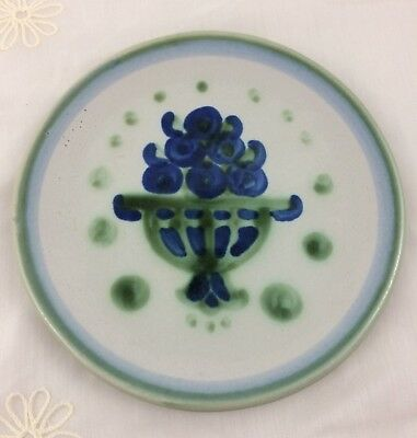 "M A Hadley Bouquet Bread & Butter Side Plate Dish 6.25"" Blue & Green Pottery"