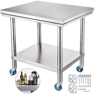 "36"" x 24"" Stainless Steel Commercial Kitchen Prep & Work Table w/ 4 Casters"