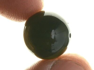 MOLDAVITE ROUND BEAD POLISHED DRILLED 14mm - 3.49g #BRUS1772
