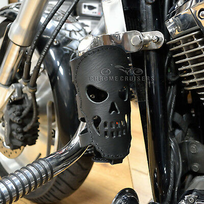 Motorcycle Biker Custom Rear Leather Cup Drink Can Bottle Holder With Skull Gift