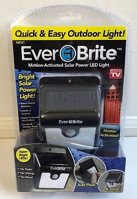 Ever Brite Motion-Activated Solar Power LED Light Outdoor As Seen on TV NIB