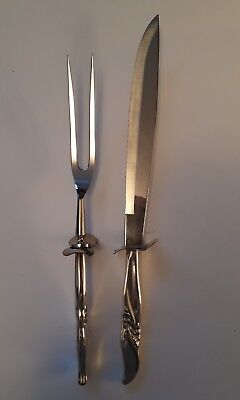 """Sterling Silver """"knife & Fork Carving Set""""  Unidentified Pattern - Hollow Handle"""
