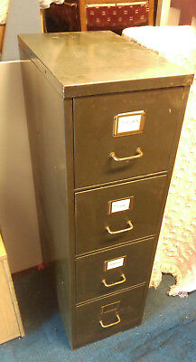 office retro antique filling cabinet green metal with drawer