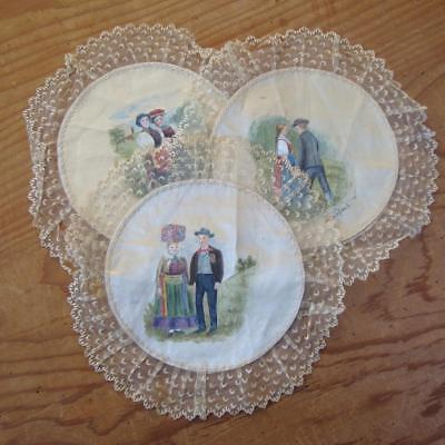 X31 - Three Antique Hand-Painted Silk Doilies With Lace Edges