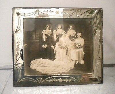 Antique 1920's Art Deco Mirrored Frame With Cut Glass And Great Wedding Photo