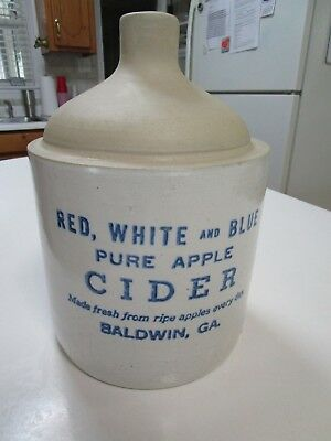RARE OLD ANTIQUE Pottery APPLE JUG FROM THE RED, WHITE, BLUE - Baldwin, Ga.