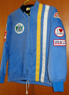 Vintage 70's Jacket Telephone Pioneers of America, 20 Patches, Racing Style