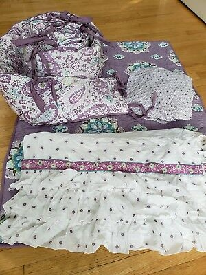 pottery barn kids 4 pc brooklyn purple lavender crib bedding set