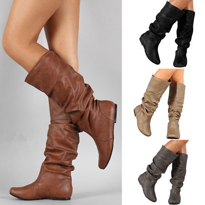 Womens Plain Leather Knee High Boots Riding Wide Leg Stretchy Flat Shoes Size UK