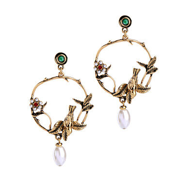 Vintage Style Large Earrings Bronze Gold Dangle Bird Tree Pearl Quality Gift UK