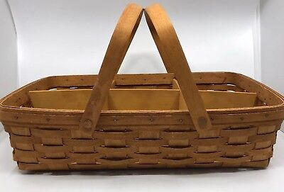 Longaberger Basket Large With Handles And Wood Dividers 1991