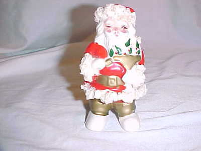 "Vtg Santa Claus Spaghetti Figurine Gold Red Green White 4 1/4"" tall"