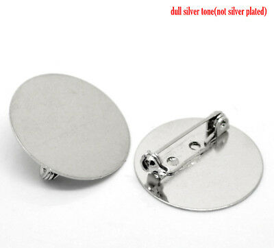 5 SILVER TONE ROUND 25mm BROOCHES BACKS/BLANKS~Cabochon~Clips~Badge~Pins (41H)UK