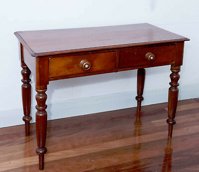 Antique Australian Cedar Side Table 106x51cm 2 Drawers Mother of Pearl Detailing