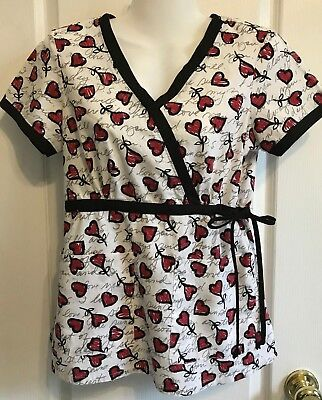 5f671514244 KOI Womens SCRUB TOP Size XS Love HEARTS Valentine Short Sleeve Red White  Black