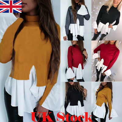 UK Fashion Women Long Sleeve Frill Ruffle Tops Casual Loose Ladies Blouse Shirt