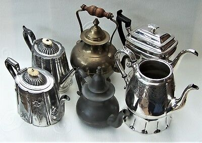 Job Lot Of 6 Tea Pots Silver Plated, Brass & Pewter Victorian 1850s Onwards