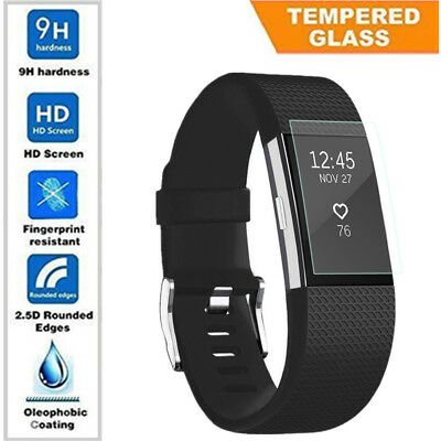 10x Soft Tempered Glass Screen Protector Full Coverage Film For Fitbit Charge 2