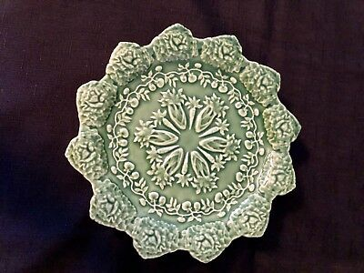 "Bordallo Pinheiro Rabbit Green Scalloped Salad Plate 8 1/4"" Cabbage Easter Dish"