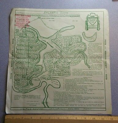 1960's Map Lake Arrowhead Myrtle Beach, South Carolina Vintage