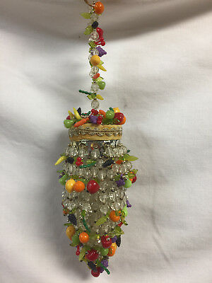 VIntage Plastic Bead Christmas Ornament fruit and beads