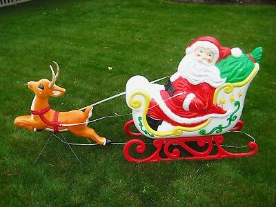 Vintage Blow Mold Santa Claus Sleigh & Reindeer Christmas Grand Venture with Box